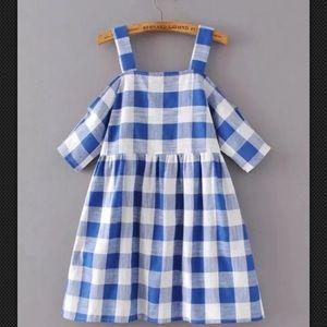 NWT vtg boho loose sleeve off-shoulder plaid dress